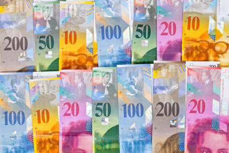 Bills of Swiss Money (Francs) with 10, 20, 50, 100 and 200 Bills