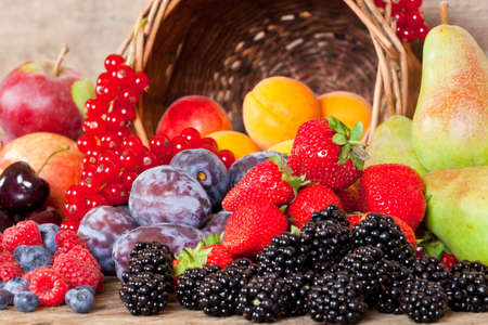 Many different European Fruits in Summer Season Imagens