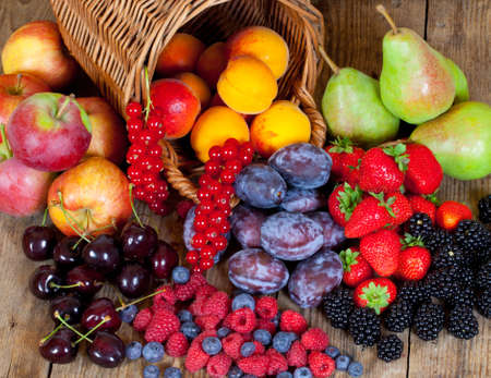 nonfat: Different Fruits which are all growed in Europe during Summer Stock Photo
