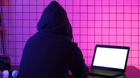 Hacker stealing personal information through data in order to scamming ransom. White Display.