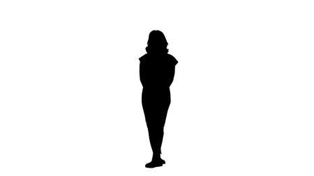 Silhouette Young girl listening something attentively.