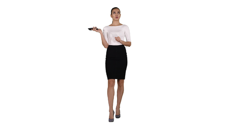 Woman shouting and argue on the phone on white background. Banque d'images