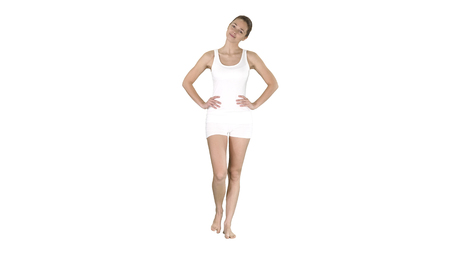 Yoga stretching neck Girl in white walking and doing exercise on white background.