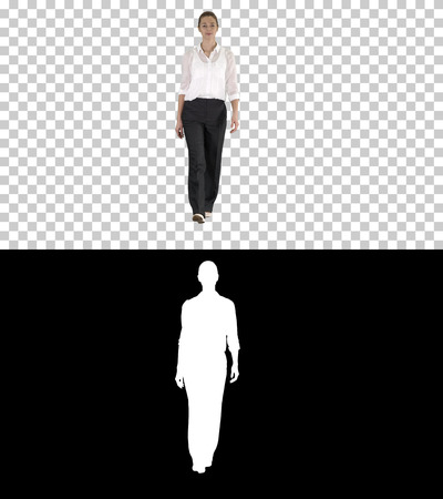 Woman walking in formal outfit, Alpha Channel