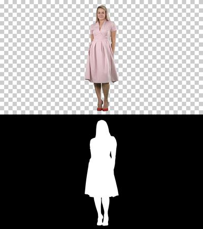Beautiful lady in pink dress preen, Alpha Channel Stock Photo