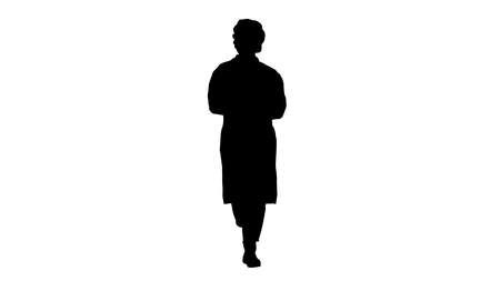 Silhouette Friendly female doctor walking and talking to camera.
