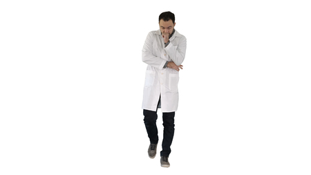 Tired doctor walking on white background.