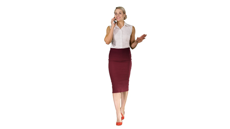 Young businesswoman worker talking on smartphone and smiling Business concept on white background.