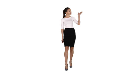 Business woman presenter talking and showing product or text on white background.