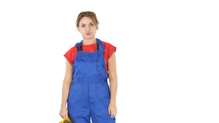 Woman worker very tired on white background. Stockfoto