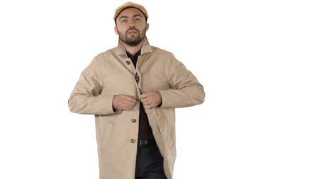 Cold weather Autumn or winter day Man in trench buttons up on white background.