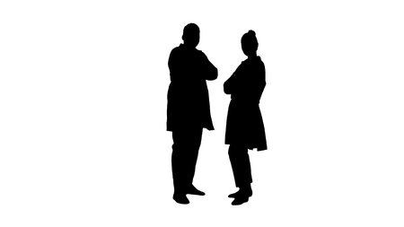 Full length. Silhouette Woman and man doctors with crossed arms. Professional shot in 4K resolution. 012. You can use it e.g. in your commercial video, medical, business, presentation, broadcast