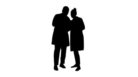 Full length. Silhouette Medical staff working in front of a grey laptop while standing. Professional shot in 4K resolution. 012. You can use it e.g. in your commercial video, medical, business, presentation, broadcast Stockfoto