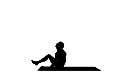 Silhouette Yoga Dwi Pada Sirsasana feet behind the head pose. Professional shot in 4K resolution. 001. You can use it e.g. in your commercial video, yoga, sport, business, presentation, broadcast