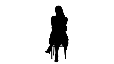 Silhouette Beautiful young woman, girl, model blonde with long hair sitting on a chair and looking to camera. Professional shot in 4K resolution. 005. You can use it e.g. in your commercial video, business, presentation, broadcast
