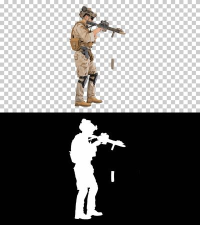 Soldier walking and reloading assault rifle, Alpha Channel