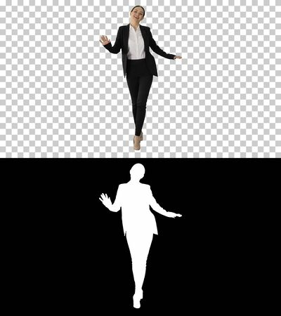 Cheerful and Happy Young Business Woman Actively Dancing While W