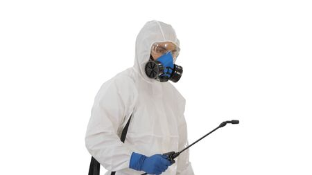 Disinfection For Virus Killing Worker in Hazmat Suit and Face Protection Mask Spraying Using Chemical Agents To Stop Spreading Virus Infections on white background.