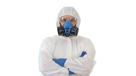 Doctor in protective suits with folded hands on white background.