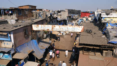 Mumbai, India - December 25, 2017: Favelas of Mumbai. Professional shot  024. You can use it e.g. in your commercial video, medical, business presentation broadcast Editorial