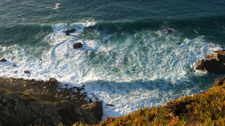 Cabo da roca, the western point of Europe. View from the cliff to the ocean. Professional shot 024.