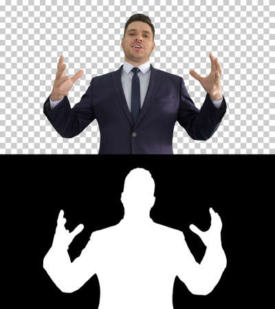 Man in formal clothes speaking to camera doing hand gestures in a very expressive and positive way, Alpha Channel
