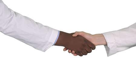 Medical handshake on white background.