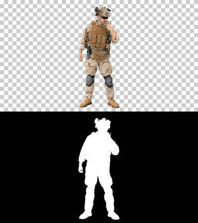 Soldier in uniform talking on radio, Alpha Channel with Silhouet