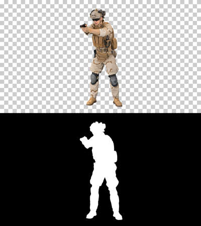 Army man pointing gun in multiple directions ready for combat, A Banque d'images