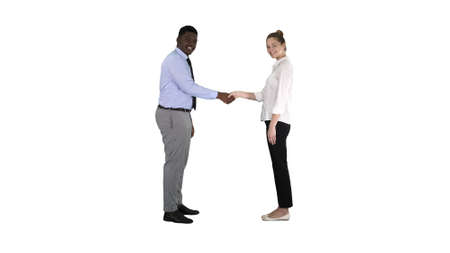 Handshake of business woman and business man posing for the pict Banco de Imagens