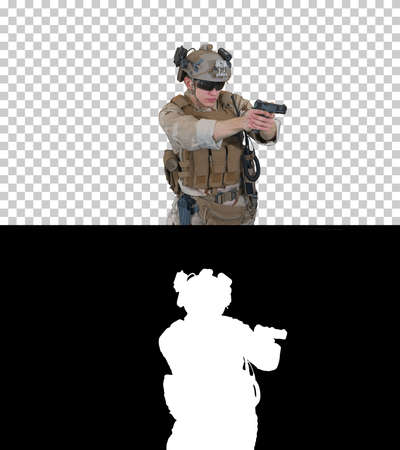 Army man pointing gun in multiple directions ready for combat, Alpha Channel with Silhouette