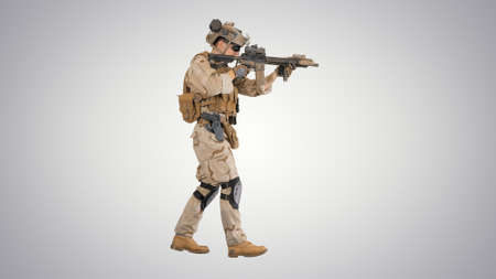 Soldier Walking and Aims through the Assault Rifle on gradient b