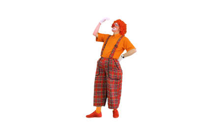 Funny clown thinking really hard on white background.