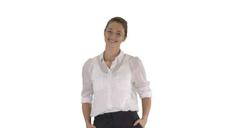 Looking great Marvelous optimistic business woman smiling on whi