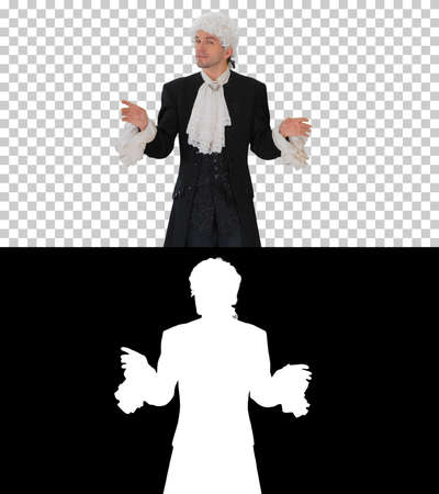 Man in old-fashioned frock coat and white wig talking and waivin