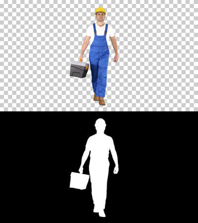 Walking construction worker with toolbox, Alpha Channel