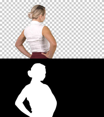 Business woman placing hands on hips, Alpha Channel 版權商用圖片