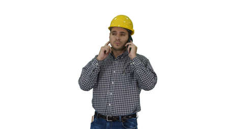 Construction worker using smartphone on white background.