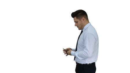 Businessman is counting money on white background.