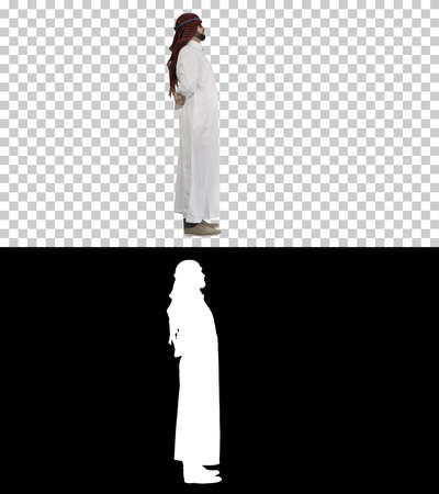 Cool sheikh in sunglasses posing, Alpha Channel with Silhouette