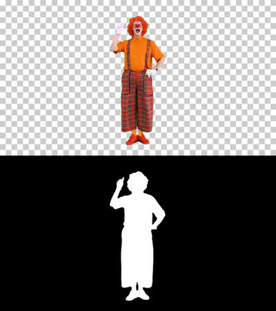 Clown pointing a finger up having and idea and thinking, Alpha C