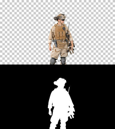 Young USA ranger standing in a casual pose and talking, Alpha Ch