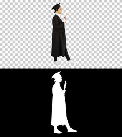 Frustrated female student in graduation robe shaking her diploma