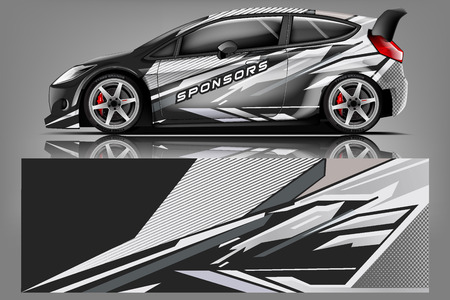 Car decal wrap design vector. Graphic abstract stripe racing background kit designs for vehicle, race car, rally, adventure and livery - Vector 免版税图像 - 121081145