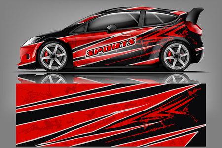 Vector de diseño de envoltura de calcomanía de coche. Diseños de kit de fondo de carreras de rayas abstractas gráficas para vehículos, autos de carreras, rally, aventuras y librea - Vector