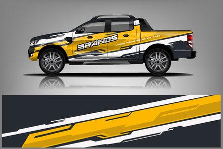 Design Truck Wrap per azienda, decalcomania, involucro e adesivo. vettore eps10 - Vettore