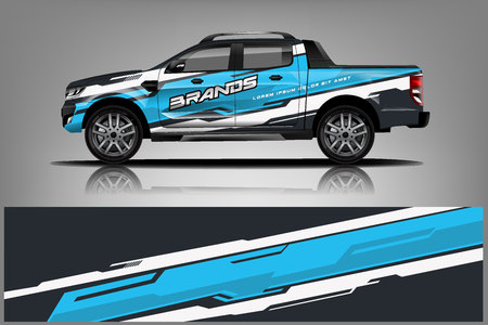 Design Truck Wrap per azienda, decalcomania, involucro e adesivo. vettore eps10 - Vettore Vettoriali