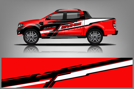 Truck Wrap design for company, decal, wrap, and sticker. vector eps10 - Vector Vector Illustration