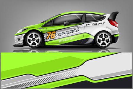 Auto sticker wrap ontwerp vector. Grafische abstracte streep race-achtergrondkitontwerpen voor voertuig, raceauto, rally, avontuur en kleurstelling - Vector