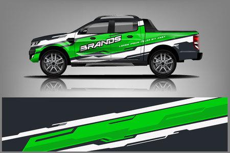 Design dell'involucro della livrea del camion. Decalcomania dell'involucro dell'auto e design adesivo. - Vettore